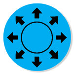 Icon: circle with 8 arrows pointing outward
